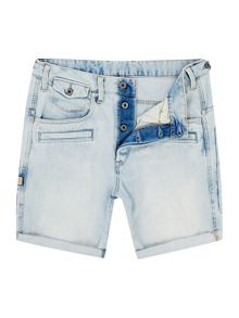 David 3D Light Aged Wisk Denim Shorts