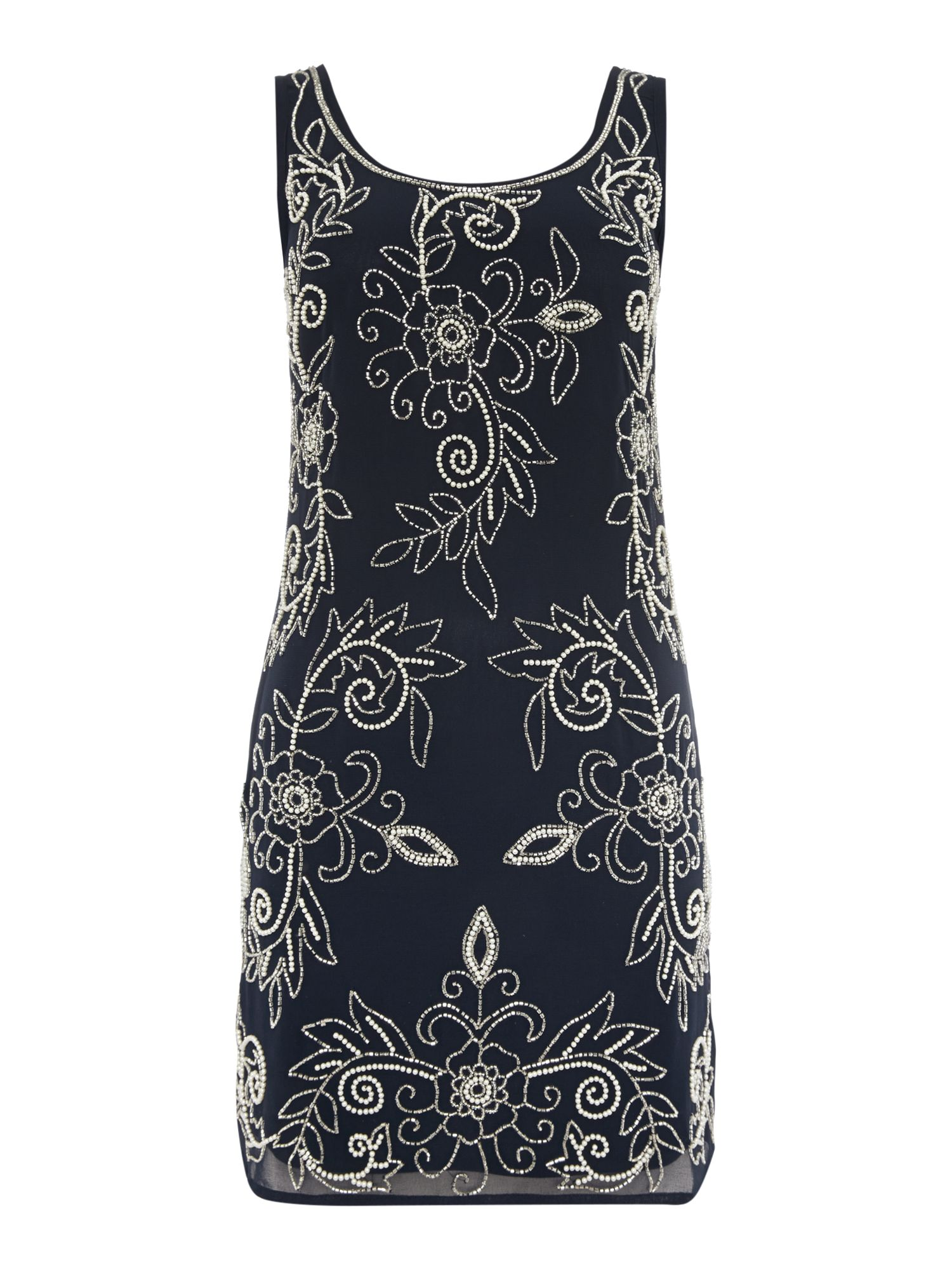 Lace and Beads Sleeveless Round Neck Beaded Shift Dress Navy £37.50 AT vintagedancer.com