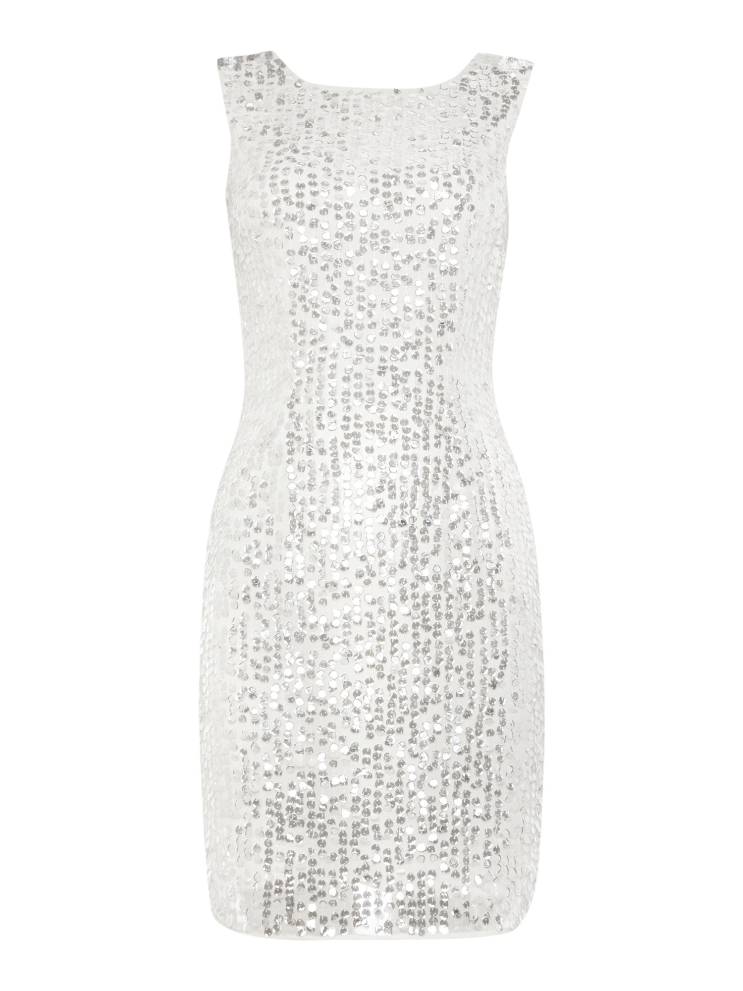 Lace and Beads Sleeveless Full Beaded Bodycon Dress White £59.50 AT vintagedancer.com