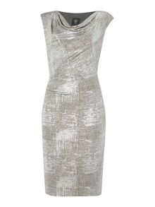 Vince Camuto Metallic cowl neck dress