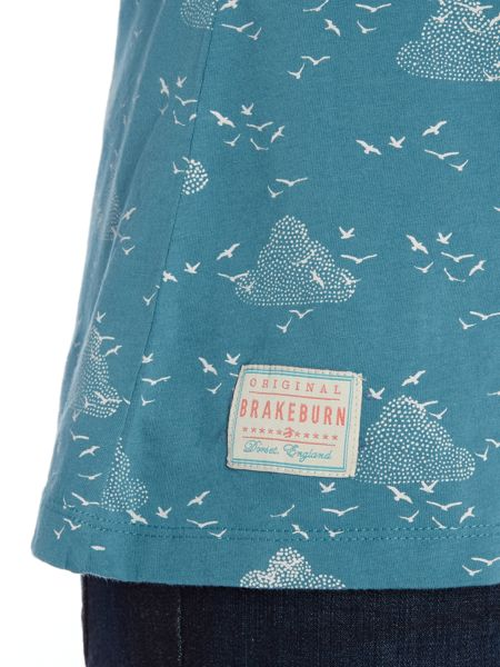 Brakeburn Birds and clouds notch neck tee