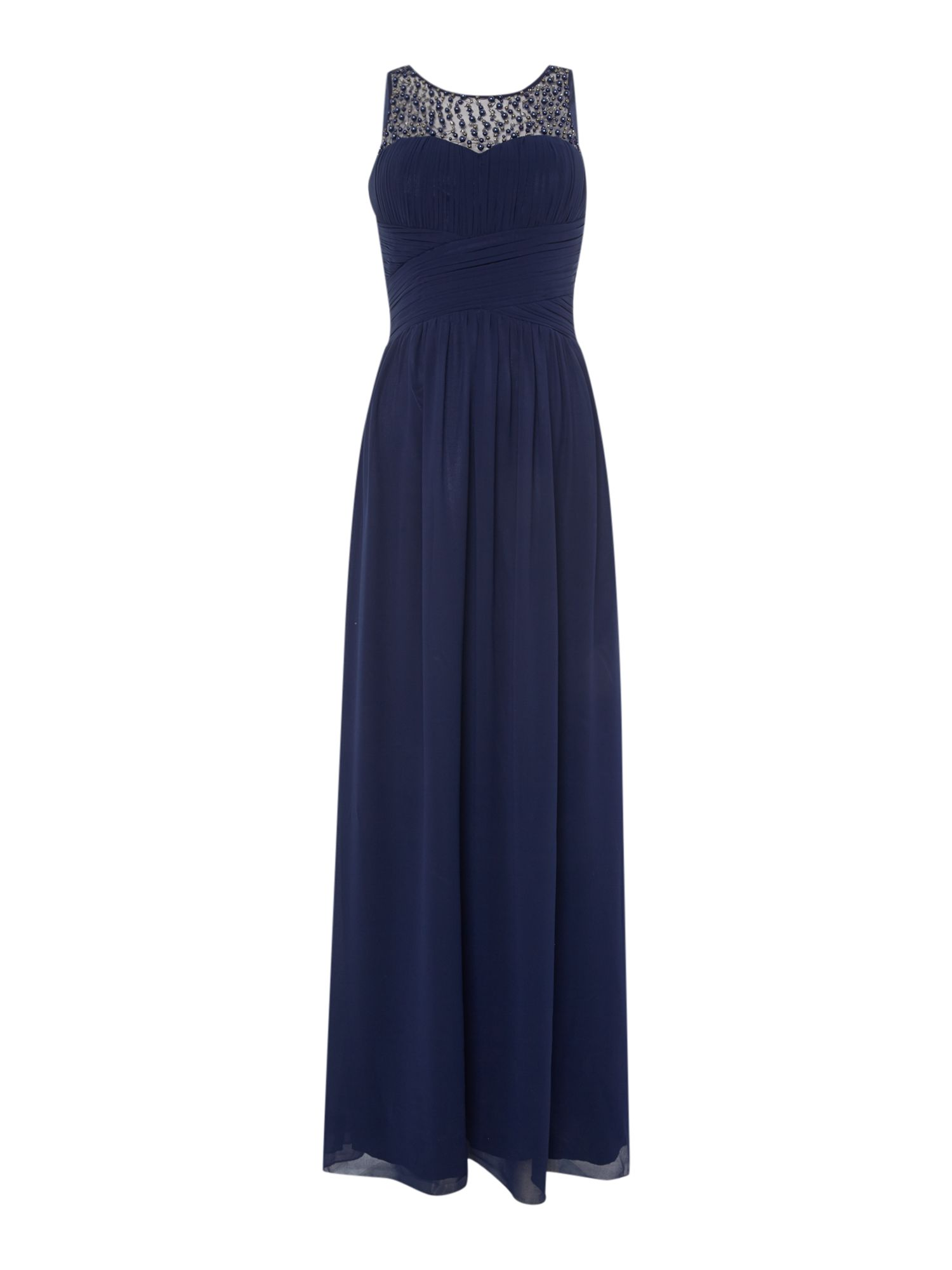 Little Mistress Beaded top maxi dress, Blue