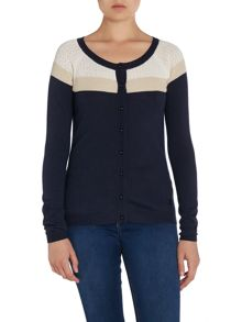Armani Jeans Fine knit cardigan with cut out detail
