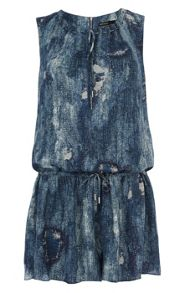 Denim print soft playsuit
