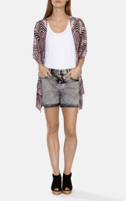 Grey acid wash denim shorts