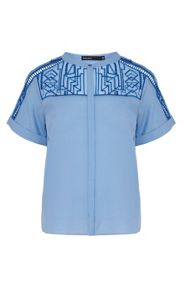 Graphic tribal embroidery shirt