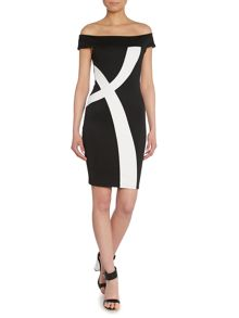 Off Shoulder Monochrome Bodycon Dress