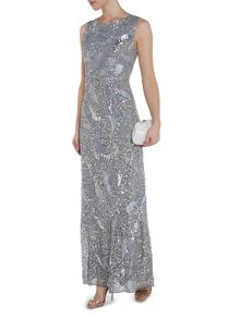Cowl neck embellished floor length maxi