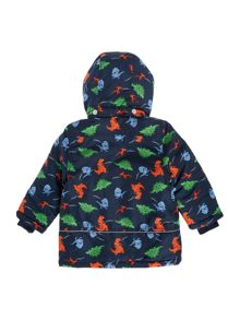 Boys Dinosaur Printed Jacket With Detachable Hood