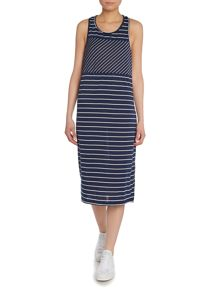 Vila Sleeveless Twist Back Striped Midi Dress