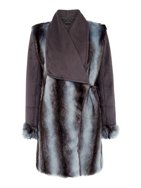 Pennyblack Affabile faux fur and suede coat