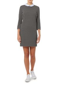 Long Sleeved Striped Dress with Collar