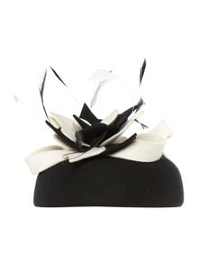 Suzanne Bettley Flet Pillbox With Flower & Feather Trim