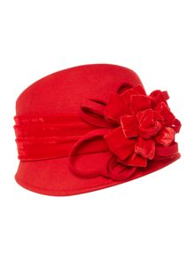 Suzanne Bettley Felt Cloche With Loops & Flower