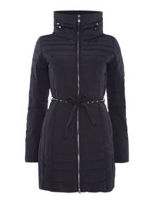 Long padded coat with stud belt