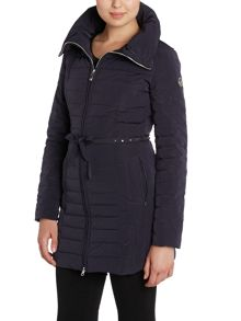 Armani Jeans Long padded coat with stud belt