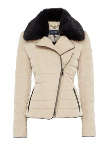 Short padded coat with detachable faux fur collar