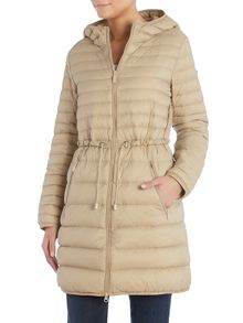 Long light weight down padded coat with hood