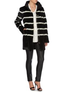 Faux fur stripe coat