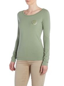 Long sleeve embellished logo top