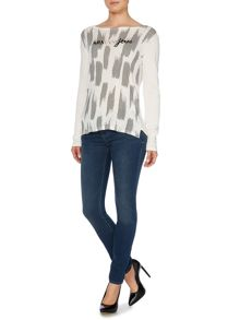 Long sleeve houndstooth print logo top