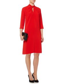 Knot neck shift dress