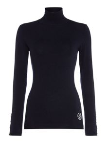 Long sleeve polo neck with pearl cuff