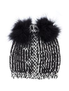 Multi knit beanie with double pom poms