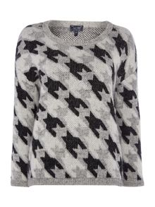 Armani Jeans Long sleeve large houndstooth print jumper
