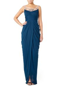 Jersey gown with embellished neckline