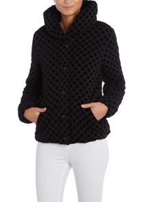 Short polkadot print padded coat