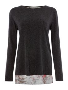 Gray & Willow Leila longline blush print and jersey top