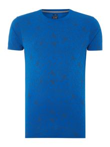 Slim fit crew neck all over web printed t shirt