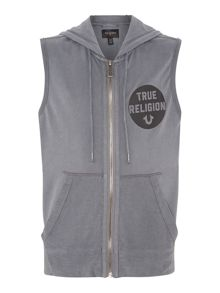 Printed Sleeveless Full Zip Hoodie