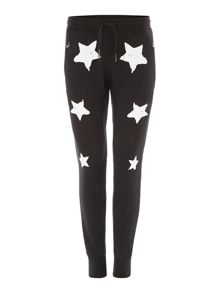 True Religion Tapered Fit Star Print Tracksuit Bottoms