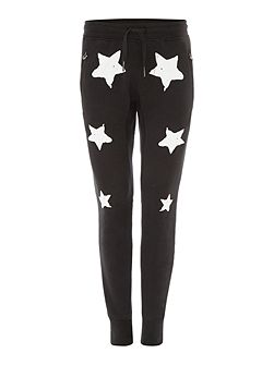 Tapered Fit Star Print Tracksuit Bottoms