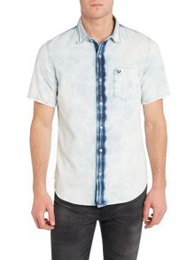 True Religion Slim Fit Acid Wash Short Sleeve Shirt