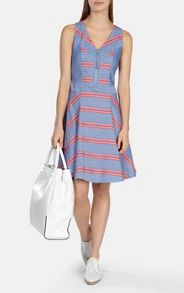 Engineered stripe chambray dress