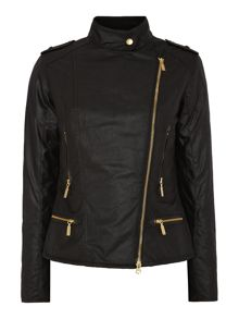 International Chicara aysemetric wax jacket
