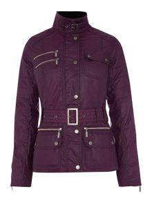 Barbour International fireblade belted wax jacket