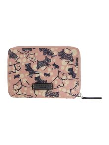 Cherry blossom dog pink zip around purse