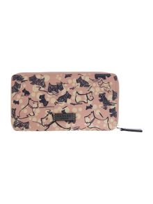 Cherry blossom dog large pink zip around purse