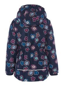 Girls Flower Printed Hooded Jacket