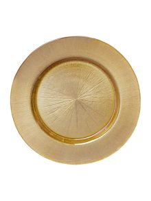 Glass charger plate gold