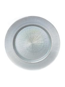Glass charger plate silver