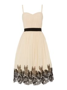 Little Mistress Bandeau Contrast Waist Embroidered Dress