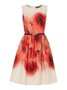 Sleeveless Printed Belted Fit and Flare Dress