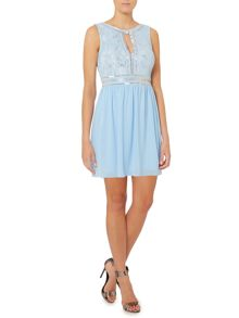 Sleeveless Embroidered Fit and Flare Dress