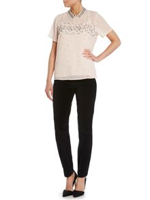 Scatter Bead Embellished Top with Collar