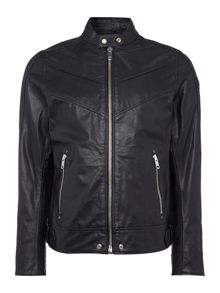 L-Reed Tonal Chevron Leather Biker Jacket